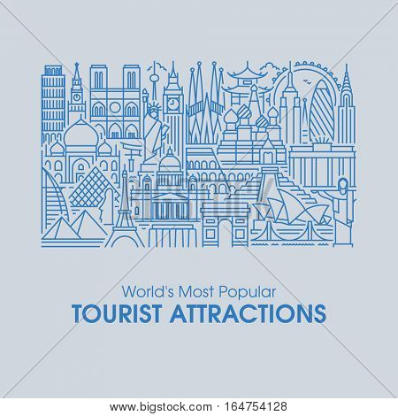 Flat line design style illustration of world's most popular tourist attractions. Modern vector background for traveling, summer vacation, tourism and journey concepts