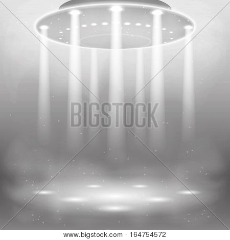 Illustration of the effects of smoke, lights, lamps. Vector graphics . Design alien and UFO background. The flying machine in the air with the effect of light.