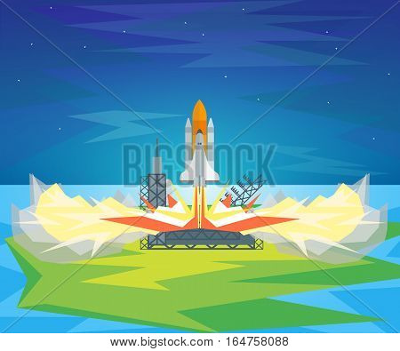 Cartoon Start Space Shuttle Symbol Innovation Development Business Idea Flat Design Style. Vector illustration