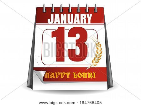 Calendar. Holiday date. Festival of lohri celebration. January 13th. Happy Lohri. Vector illustration isolated on white background