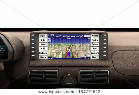 Navigation Device In The Car 3D Render