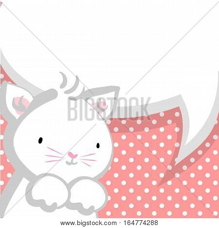 Vector festive hand drawn cat illustration. Comic bubble, empty balloon. Pink halftone background. White cute little kitty pink nose for baby.