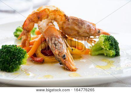 Gourmet Shrimps In A Restaurant