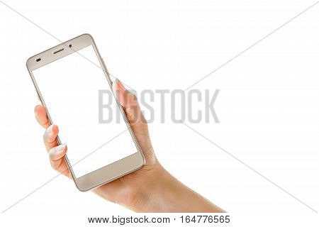 Female hand holding mobile smart phone isolated on  white background