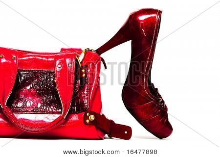womanish shoes and bag  isolated on white background