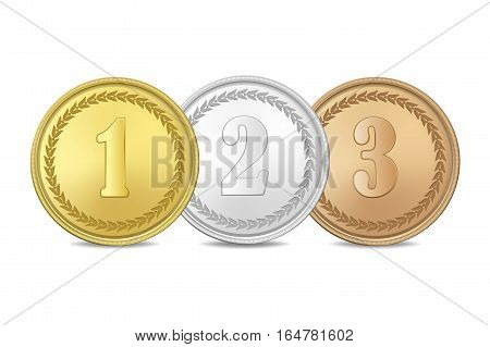 Gold, silver and bronze award medals set isolated on white background. The first, second, third prizes.Vector EPS10 illustration.