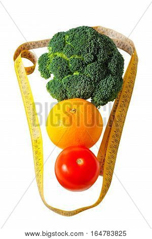 Healthy eating and weight loss concept - tomato orange broccoli and measuring tape isolated