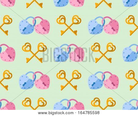 seamless pattern from padlock couple key couple with heart shape. Vector background for Valentine day