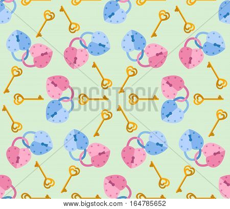 seamless pattern from padlock couple key with heart shape. Vector background for Valentine day