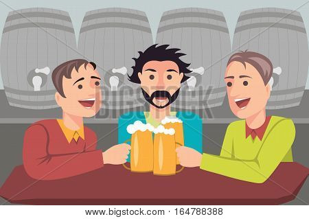 Illustration of three friends drinking beer in a bar. In the background the barrels of beer. Vector illustration. eps10