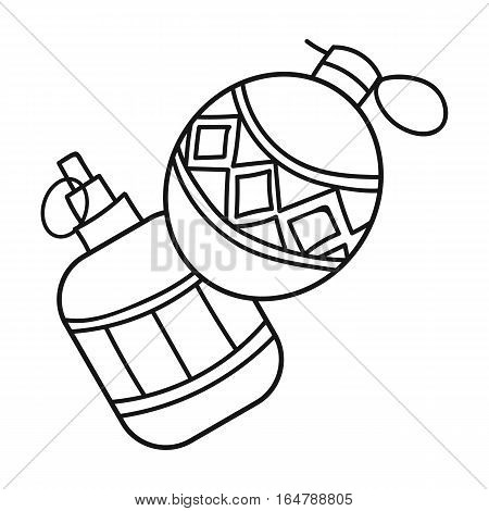 Paintball hand grenade icon in outline design isolated on white background. Paintball symbol stock vector illustration.