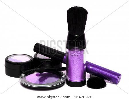 violet set for make-up, eyeshadows, rouge, blusher and gloss