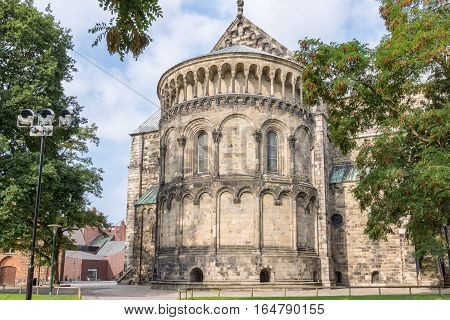 Lund cathedral from the east side. The apse is among the trees. The cathedral was consecrated 1145.