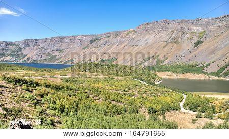 Van, Turkey - September 28, 2013: The two lakes of Nemrut Crater
