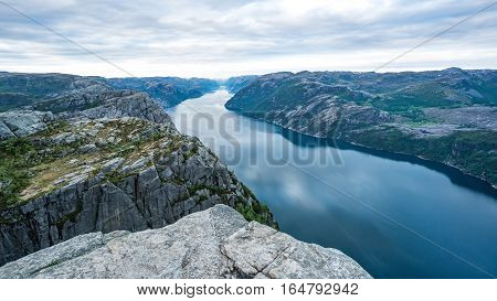 Forsand, Norway - May 28, 2016: View from the top of Preikestolen, Pulpit Rock