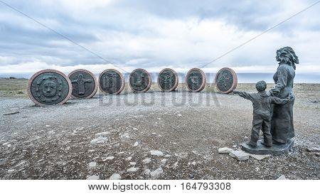 Nordkapp, Norway - June 6, 2016: Children of the Earth monument at NordKapp