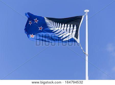 Silver fern flag in an alternative flag of New Zealand (Wellington).