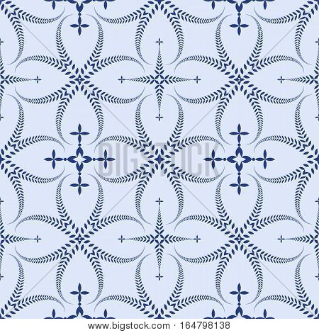 Religion seamless pattern. Laurel wreath, lace view texture with cross. Ceremonial, funeral background. Swirl stylized ornament. Blue contrast colored. Vector