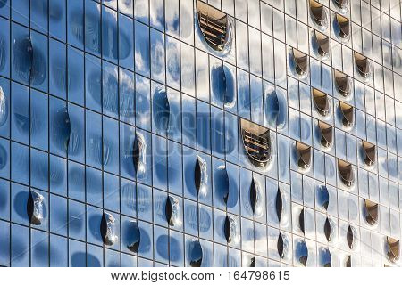 HAMBURG, GERMANY - JUNE 25, 2014: Details of Elbphilharmonie concert hall in the port of Hamburg. The tallest inhabited building of Hamburg with a height of 110 metres