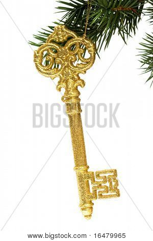 christmas festive decoration key on a tree