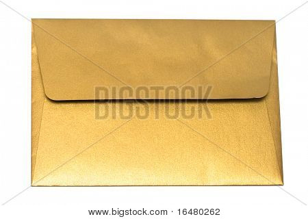 gold envelope isolated on white background