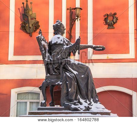Monument to Catherine II-monument of Russian Empress Catherine Great,opened on 19 September 2007 in city center Vishny Volochek. Author of  monument  Yuri Zloty. Russia,Vishny Volochek.January 3,2017