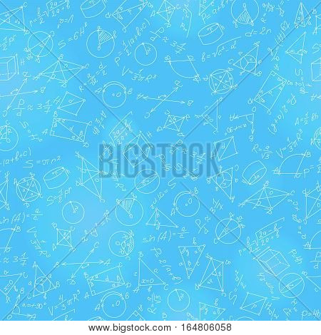 Seamless pattern on the theme of learning and geometry light contour on a blue background with formulas and graphs