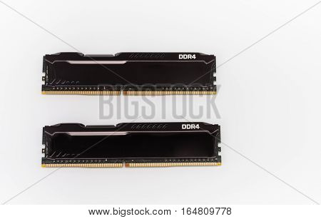 Ram Ddr4 Memory Modules On White Background
