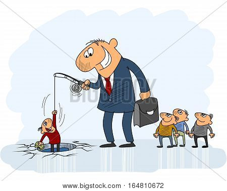 Vector illustration of a businessman catching customers