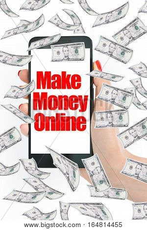 Make money online, message on smartphone with flying money