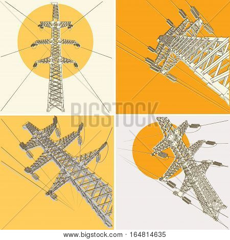 Power Transmission Line, vector illustration, set. Isolated background