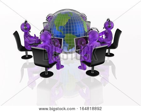 Communication - globe violet mans and notebooks on white background 3D illustration.