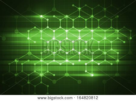 Abstract connection structure as connection concept on green color background