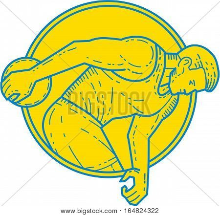 Mono line style illustration of a discus thrower athlete throwing viewed from the side set inside circle on isolated background.