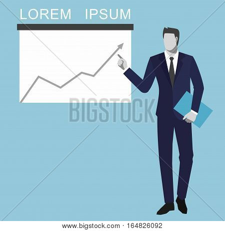 Money, success in business, concept is something. Financial charts theme elements. An illustration of a faceless male pointing at a graph
