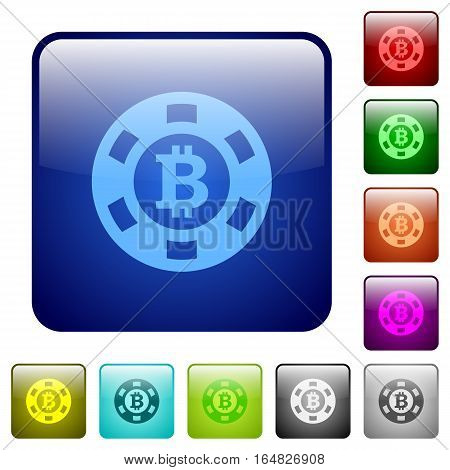 Bitcoin casino chip icons in rounded square color glossy button set