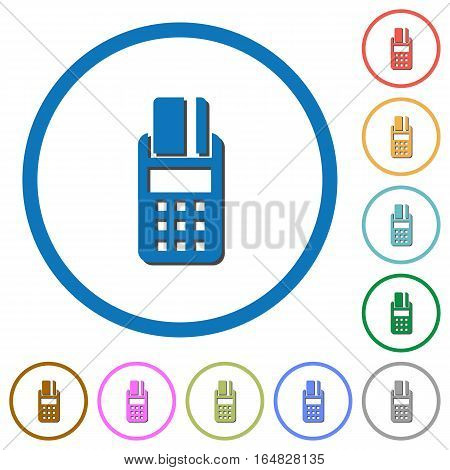 POS terminal flat color vector icons with shadows in round outlines on white background