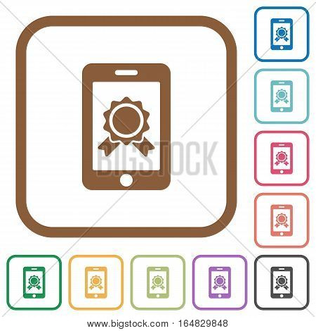 Mobile certification simple icons in color rounded square frames on white background