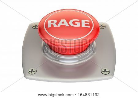 Rage Red Button 3D rendering isolated on white background