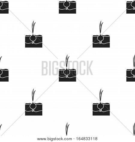 Onion icon in black style isolated on white background. Plant pattern vector illustration.