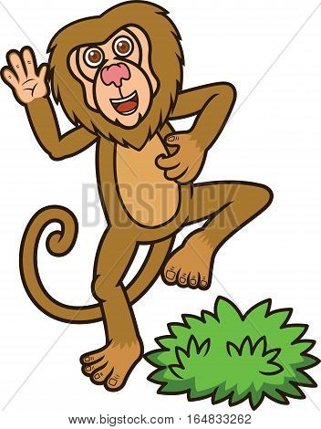 Funny Baboon Cartoon Animal Character. Vector Illustration.