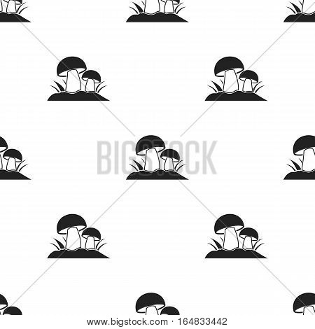 Mushroom icon in black style isolated on white background. Plant pattern vector illustration.