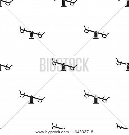 Seesaw icon in black style isolated on white background. Play garden pattern vector illustration.