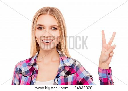 Pretty Young Woman With Beaming Smile Showing V-sign