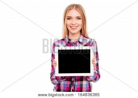 Smiling Woman Showing Empty Black Tablet Screen