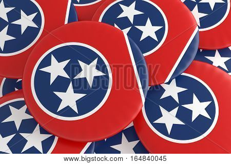 US State Buttons: Pile of Tennessee Flag Badges 3d illustration