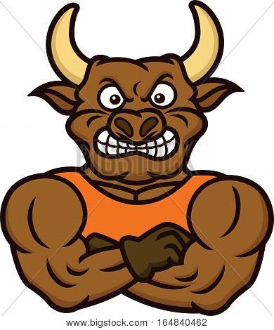 Strong Muscular Bull Bodyguard Cartoon Character. Vector Illustration Isolated on White.