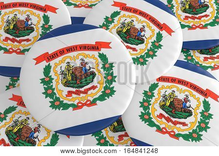 US State Buttons: Pile of West Virginia Flag Badges 3d illustration