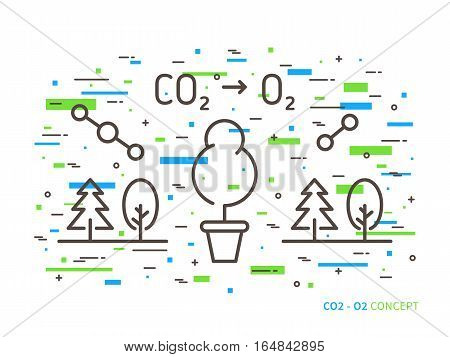 CO2 carbon dioxide to O2 oxygen linear vector illustration with trees forest plant atom molecule. Natural ecology ecological oxygen creative graphic concept.