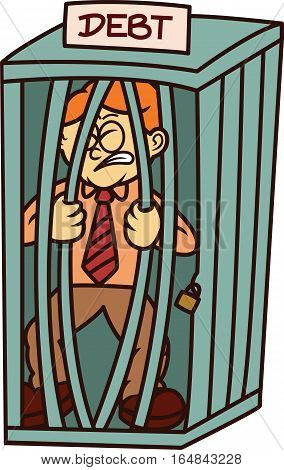 Man in Cage of Debt Cartoon Illustration Isolated on White